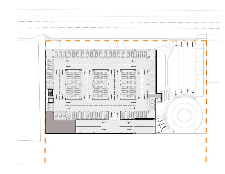Planta Sótano 1: Oficinas y tiendas de estilo  por Segovia ARQ