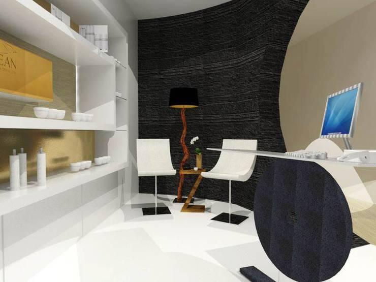 Zona de exposição e comercialização de produtos de estética.: Clínicas  por EGO Interior Design