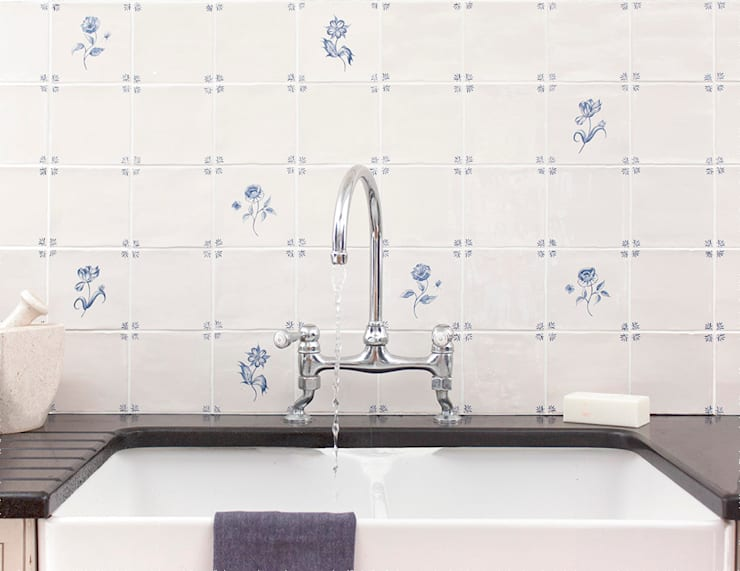 FLORA DELFT TILES:  Walls & flooring by Decorum Tiles