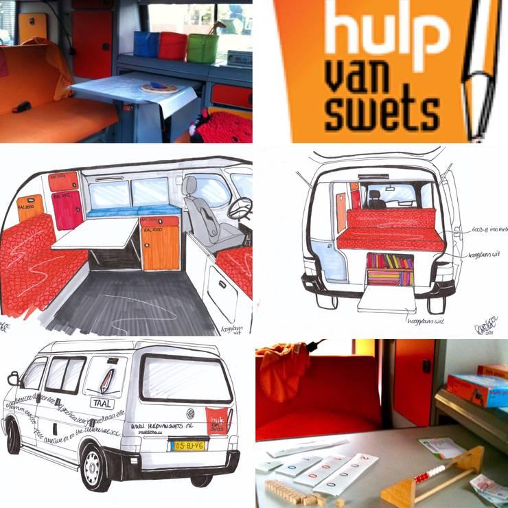 Interieur en exterieur remedial teaching bus van Swets:  Autodealers door LINDESIGN Amsterdam Ontwerp Design Interieur Industrieel Meubels Kunst