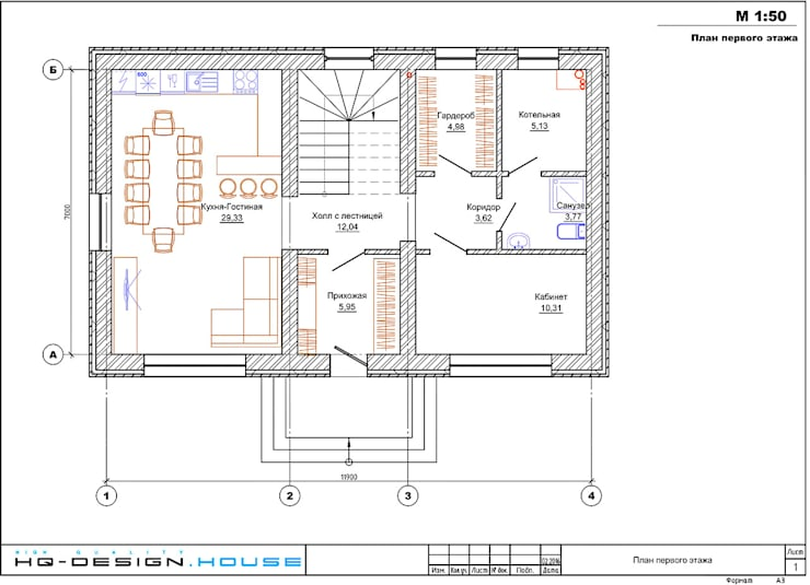 Планировочное решение 1-го этажа: Дома в . Автор – hq-design