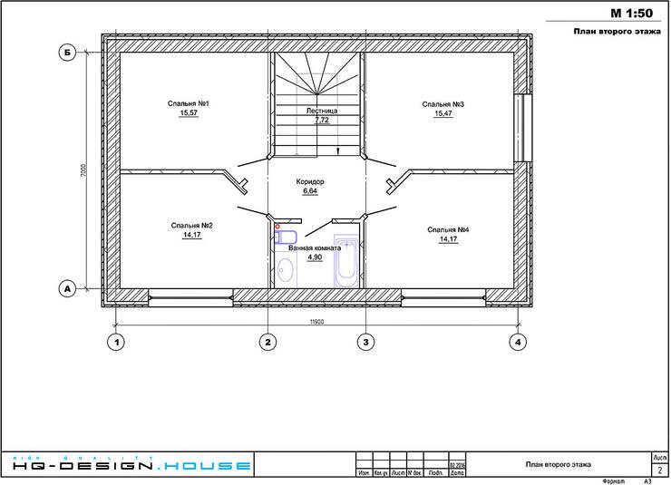 Планировочное решение 2-го этажа: Дома в . Автор – hq-design