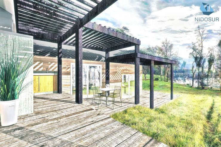 Terraza: Terrazas  de estilo  por NidoSur Arquitectos - Valdivia