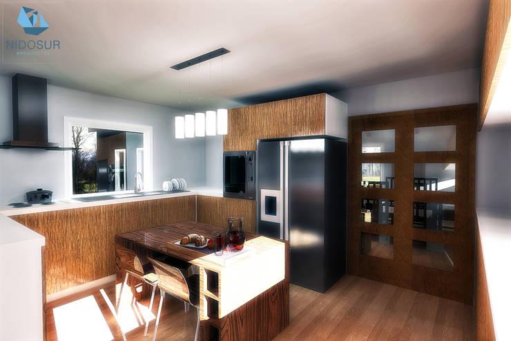 CASA 3N: Cocinas de estilo  por NidoSur Arquitectos