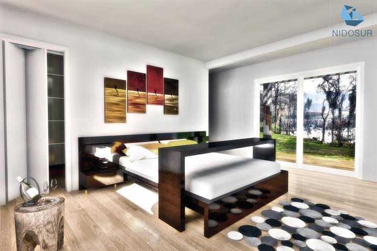 Dormitorio: Dormitorios de estilo  por NidoSur Arquitectos - Valdivia