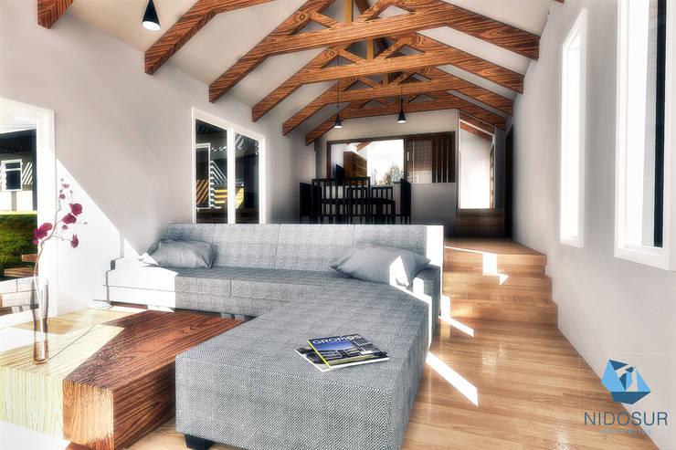 CASA 3N: Livings de estilo  por NidoSur Arquitectos