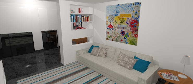 Living room by Carolina Mendonça Projetos de Arquitetura e Interiores LTDA, Modern