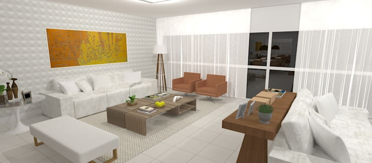 Ruang Keluarga oleh Carolina Mendonça Projetos de Arquitetura e Interiores LTDA, Modern