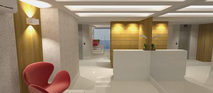 Pasillos y vestíbulos de estilo  por Carolina Mendonça Projetos de Arquitetura e Interiores LTDA,