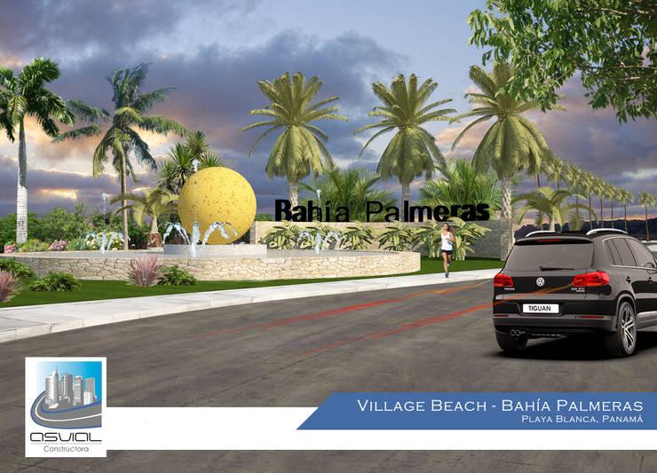 Acceso a la privada Bahía Palmeras: Casas de estilo  por Constructora Asvial - Desarrollador Inmobiliario