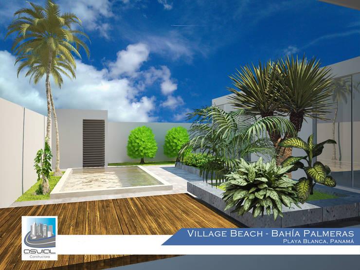 Patio de la villa: Jardines de estilo  por Constructora Asvial - Desarrollador Inmobiliario