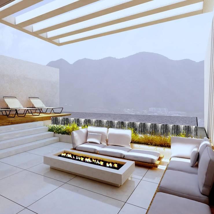 TERRAZA EN AZOTEA : Balcones y terrazas de estilo  por CH Proyectos