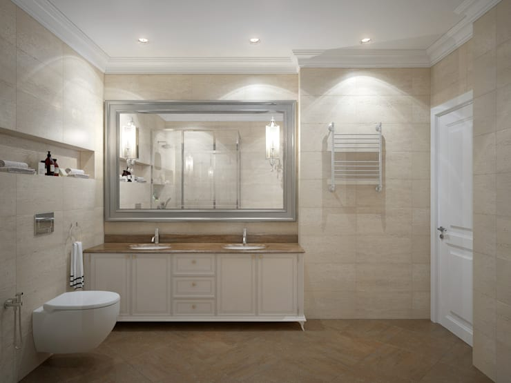 apartments in Moscow: modern Bathroom by design studio by Mariya Rubleva