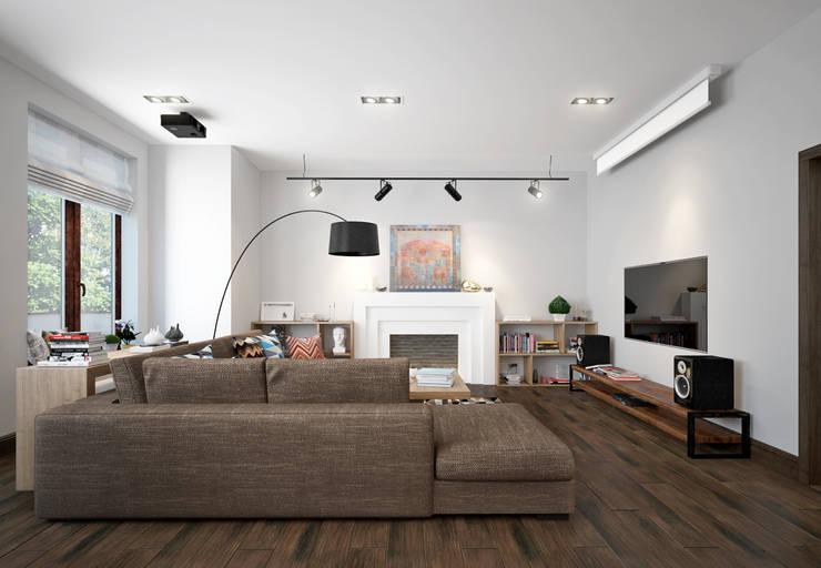 townhouse in scandinavian style:  Living room by design studio by Mariya Rubleva