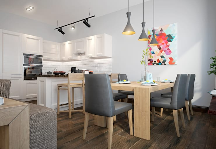 townhouse in scandinavian style:  Kitchen by design studio by Mariya Rubleva