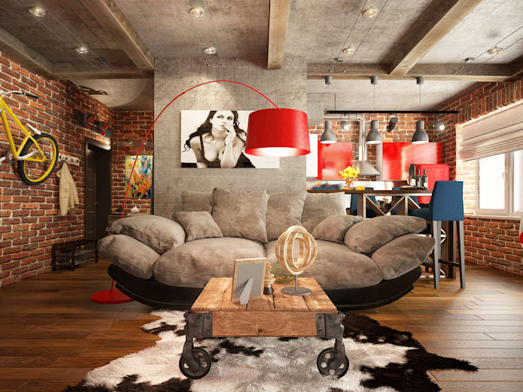 Studio in loft style:  Living room by design studio by Mariya Rubleva
