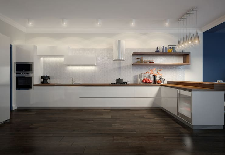 townhouse in modern style: modern Kitchen by design studio by Mariya Rubleva