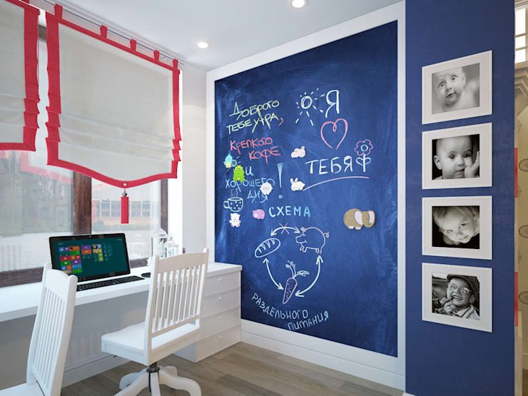 townhouse in modern style:  Nursery/kid's room by design studio by Mariya Rubleva
