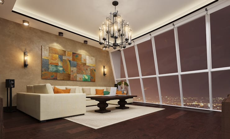 apartment with a splendid view on Moscow:  Living room by design studio by Mariya Rubleva