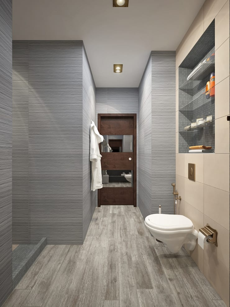 apartment with a splendid view on Moscow:  Bathroom by design studio by Mariya Rubleva