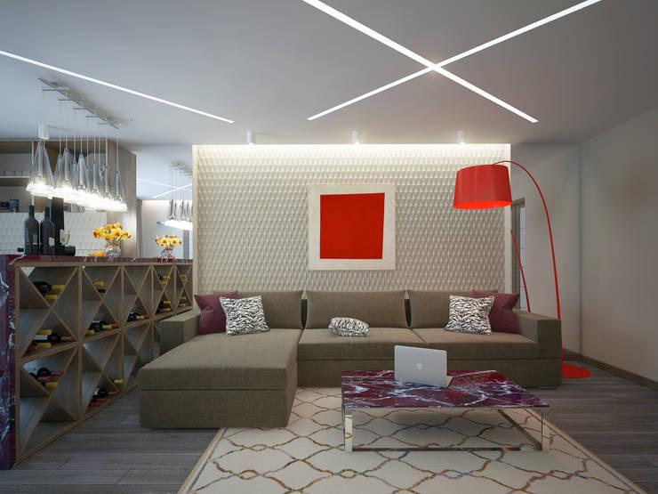 غرفة المعيشة تنفيذ design studio by Mariya Rubleva