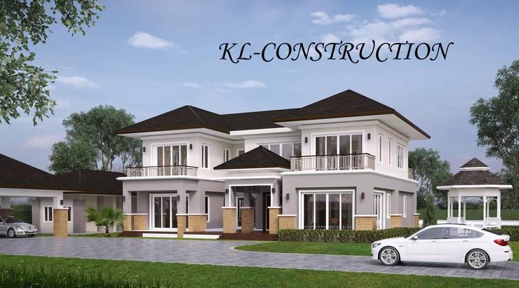 ผลงานออกแบบบ้านพักอาศัย 2 ชั้น Contemporary Style by KL-Cons.:  บ้านและที่อยู่อาศัย by บริษัท เค.แอล.คอนสตรัคชั่น แอนด์ ซัพพลาย จำกัด