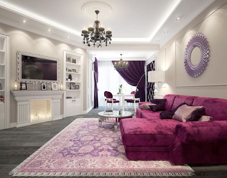 apartments in a classic style in Moscow :  Living room by design studio by Mariya Rubleva