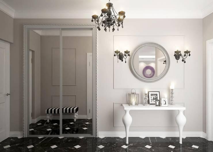 apartments in a classic style in Moscow :  Corridor & hallway by design studio by Mariya Rubleva
