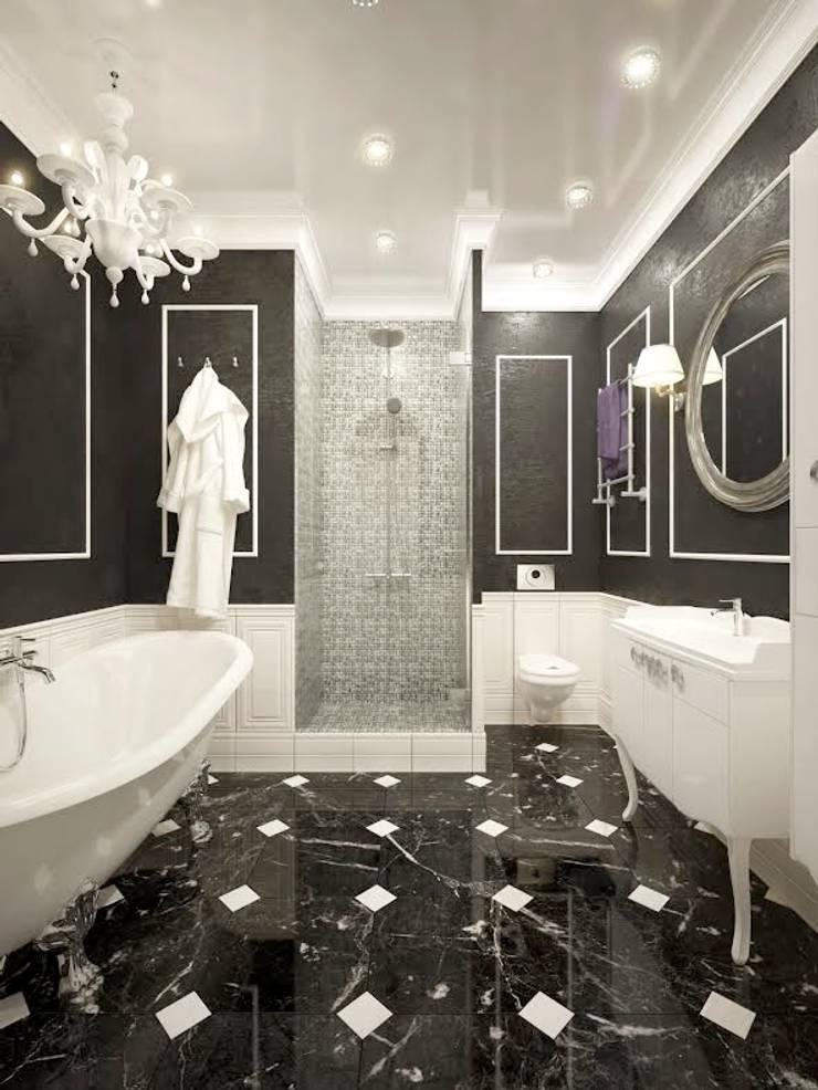 apartments in a classic style in Moscow :  Bathroom by design studio by Mariya Rubleva