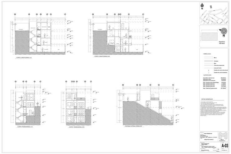 PLANOS ARQUITECTONICOS CORTES Y FACHADAS:  de estilo  por RHS ARQUITECTOS