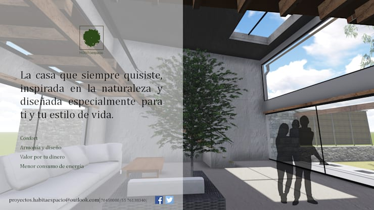 Eco-vivienda en Jiutepec Morelos: Casas de estilo  por Habitaespacio