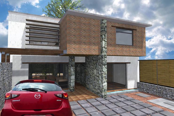 Eco-vivienda en Jiutepec Morelos, fachada Este: Casas de estilo  por Habitaespacio