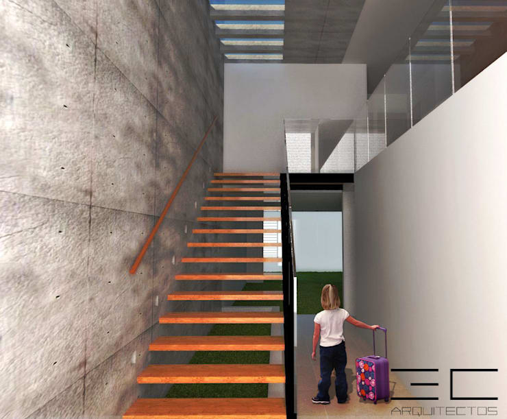 Casa RS [León, Gto]: Pasillos y recibidores de estilo  por 3C Arquitectos S.A. de C.V.