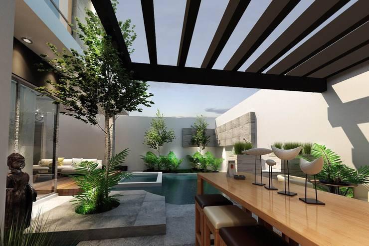 Jardín vista 1: Jardines de estilo  por Mstudio Arquitectura+Construccion