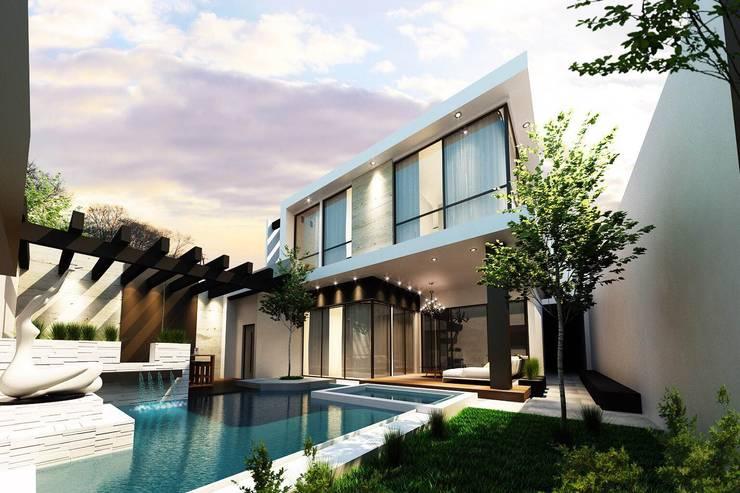 Jardín vista 2: Jardines de estilo  por Mstudio Arquitectura+Construccion