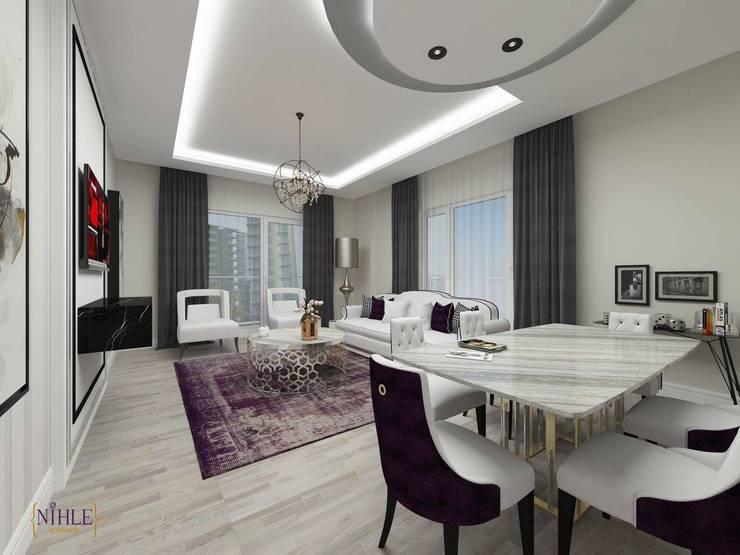 nihle iç mimarlık – KONSEPT YAPI YILDIZ PARK ÖRNEK DAİRE:  tarz Oturma Odası