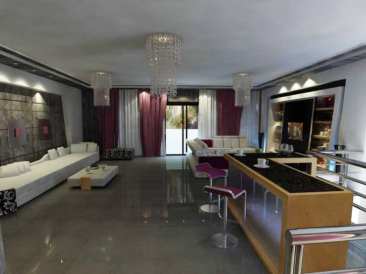 فيلا عبد  الرحمن الدور الاول:  غرفة المعيشة تنفيذ haitham hamdy designs