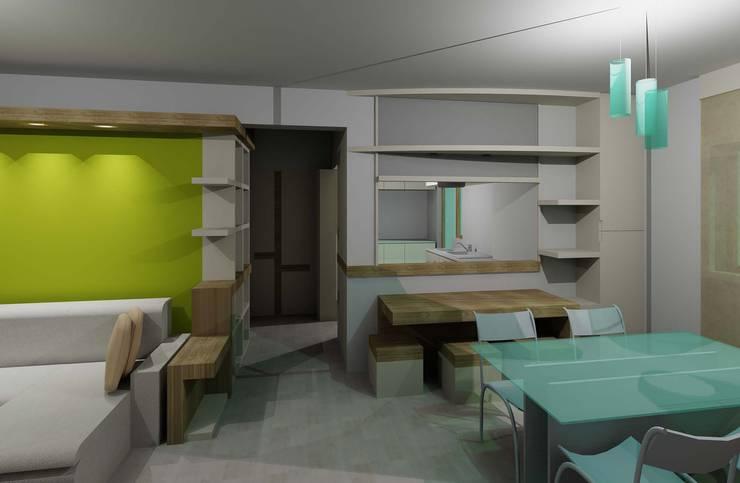 cucina-pranzo con passavivande: Sala da pranzo in stile in stile Moderno di PARIS PASCUCCI ARCHITETTI