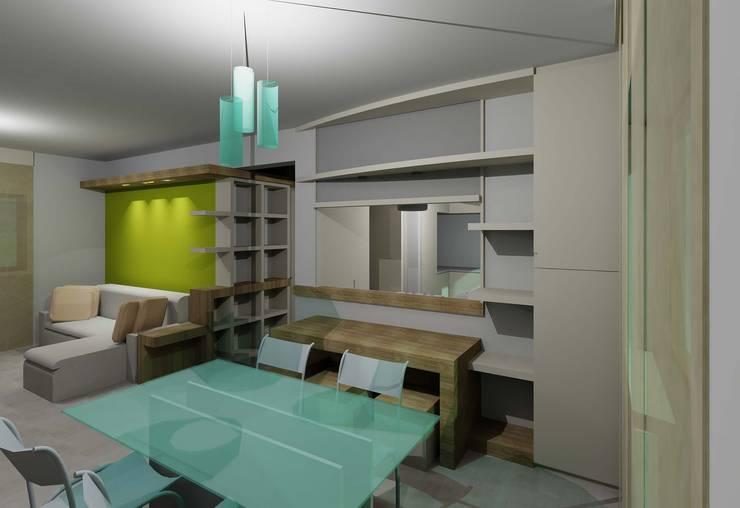 pranzo-cucina: Sala da pranzo in stile in stile Moderno di PARIS PASCUCCI ARCHITETTI