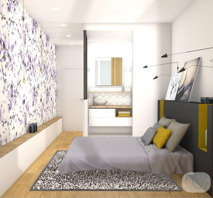 Rénovation d'un appartement - Lyon: Chambre de style  par Camille BASSE, Architecte d'intérieur