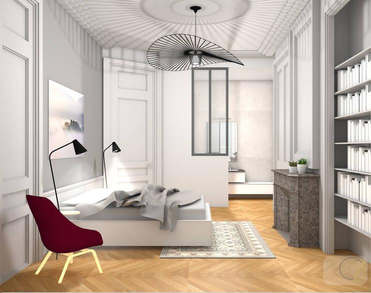 Rénovation d'un appartement haussmannien - Lyon: Chambre de style  par Camille BASSE, Architecte d'intérieur