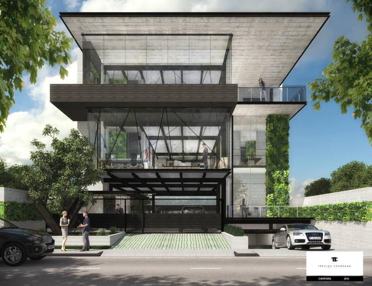 TORRE CHEPEVERA.: Estudios y oficinas de estilo  por TREVINO.CHABRAND | Architectural Studio
