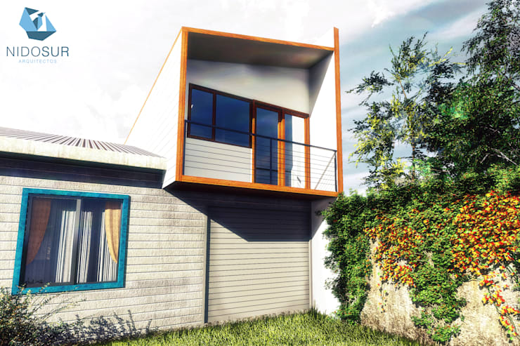 Fachada: Casas unifamiliares de estilo  por NidoSur Arquitectos