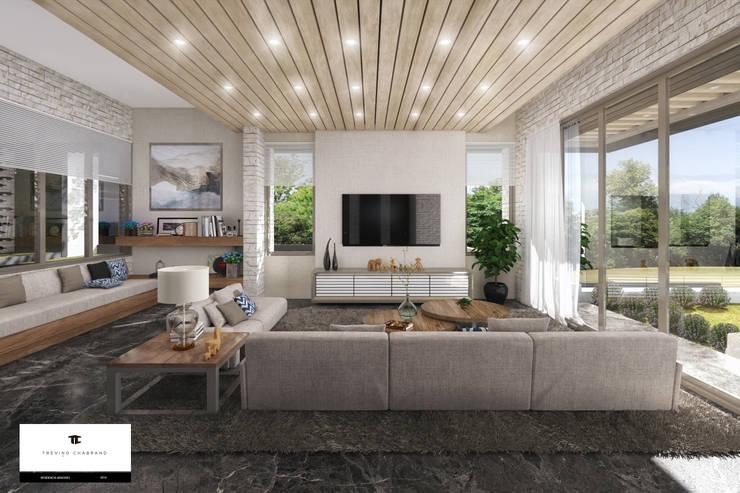غرفة المعيشة تنفيذ TREVINO.CHABRAND | Architectural Studio