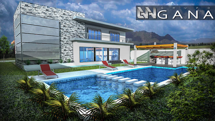Casa A+: Jardines de estilo  por Grupo GANA, C.A.