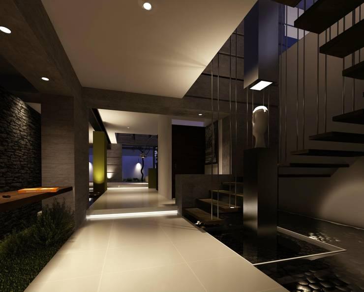 RESIDENCIA LOS LAGOS: Pasillos y recibidores de estilo  por TREVINO.CHABRAND | Architectural Studio