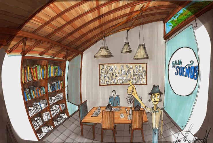 Taller de Arte & Oficinas de Caja de Sueños  / Perspectiva en Ojo de Pez :  de estilo  por Arquitectura Positiva