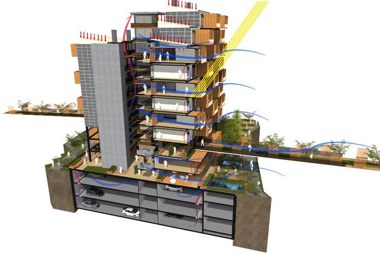 Sección Bioclimática Casas de estilo moderno de AbiOS Estudio de Arquitectura Moderno Hormigón