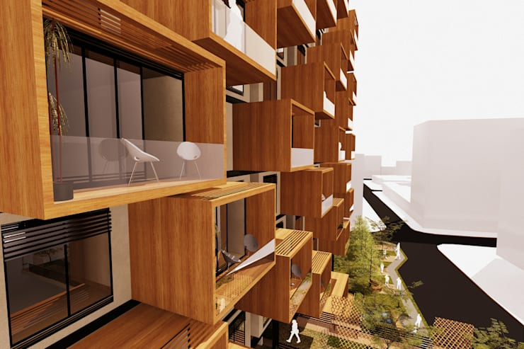 Perspectiva Fachada Norte Casas de estilo moderno de AbiOS Estudio de Arquitectura Moderno Madera Acabado en madera
