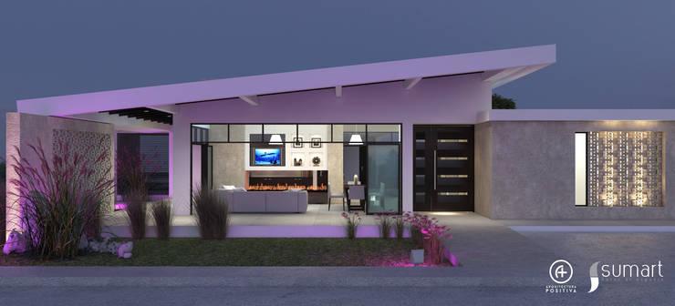 Fachada Principal - Vivienda Unifamiliar Sostenible : Casas de estilo ecléctico por Arquitectura Positiva